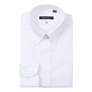 ドレスシャツ/長袖/メンズ/ボタンダウンカラードレスシャツ ストライプ 〔EC・BASIC〕 ホワイト×サックスブルー uktsc