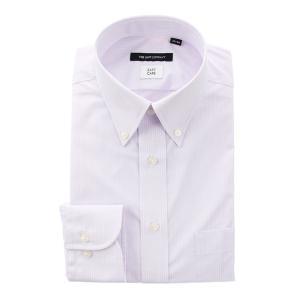 ドレスシャツ/長袖/メンズ/ボタンダウンカラードレスシャツ ストライプ 〔EC・BASIC〕 ホワイト×パープル uktsc