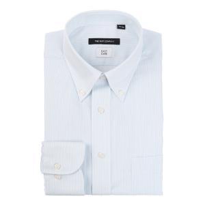 ドレスシャツ/長袖/メンズ/ボタンダウンカラードレスシャツ ストライプ 〔EC・BASIC〕 サックスブルー×ホワイト|uktsc