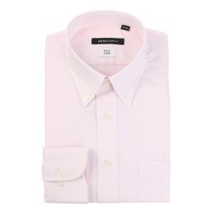 ドレスシャツ/長袖/メンズ/ボタンダウンカラードレスシャツ ピンドット 〔EC・BASIC〕 ピンク|uktsc