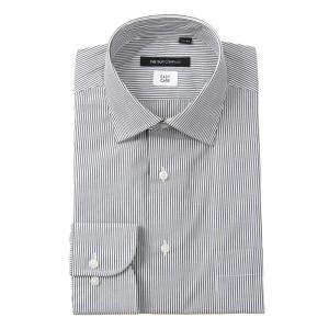 ドレスシャツ/長袖/メンズ/ワイドカラードレスシャツ ストライプ 〔EC・BASIC〕 ブラック×ホワイト|uktsc