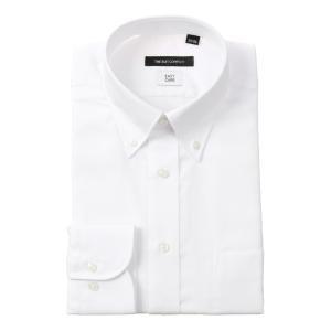 ドレスシャツ/長袖/メンズ/ボタンダウンカラードレスシャツ 織柄 〔EC・BASIC〕 ホワイト|uktsc