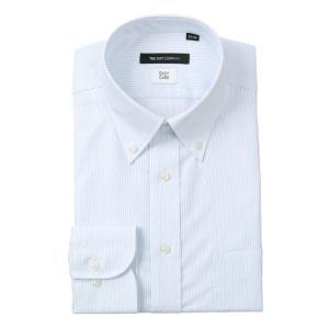 ドレスシャツ/長袖/メンズ/ボタンダウンカラードレスシャツ ストライプ 〔EC・BASIC〕 ホワイト×ブルー|uktsc