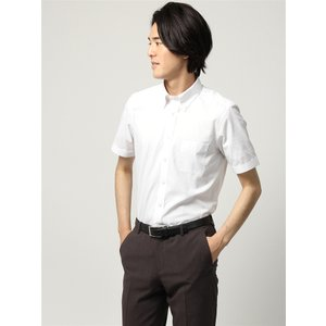 ドレスシャツ/半袖/メンズ/半袖/ボタンダウンカラードレスシャツ シャドーストライプ 〔EC・BASIC〕 ホワイト|uktsc