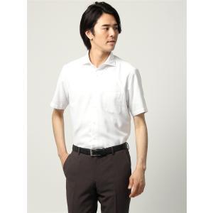 ドレスシャツ/半袖/メンズ/半袖/ホリゾンタルカラードレスシャツ 織柄 〔EC・BASIC〕 ホワイト|uktsc