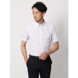 ドレスシャツ/半袖/メンズ/半袖/ボタンダウンカラードレスシャツ ストライプ 〔EC・BASIC〕 ホワイト×パープル|uktsc