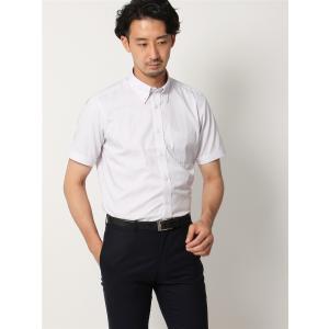 ドレスシャツ/半袖/メンズ/半袖/ボタンダウンカラードレスシャツ オルタネートストライプ 〔EC・BASIC〕 ホワイト×レッド×ブルー|uktsc