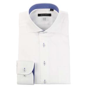 ドレスシャツ/長袖/メンズ/COOL MAX/ホリゾンタルカラードレスシャツ 織柄 〔EC・BASIC〕 ホワイト|uktsc