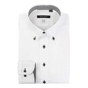 ドレスシャツ/長袖/メンズ/COOL MAX/ボタンダウンカラードレスシャツ 織柄 〔EC・BASIC〕 ホワイト|uktsc