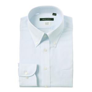 ドレスシャツ/長袖/メンズ/COOL MAX/ボタンダウンカラードレスシャツ 織柄 〔EC・BASIC〕 サックスブルー|uktsc