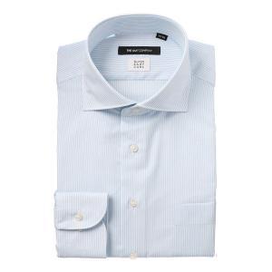ドレスシャツ/長袖/メンズ/COOL MAX/ホリゾンタルカラードレスシャツ ストライプ 〔EC・BASIC〕 サックスブルー|uktsc