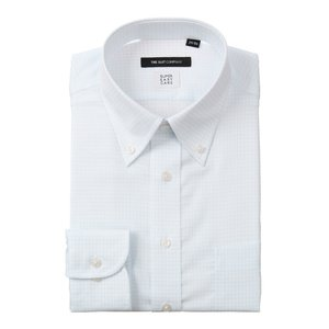 ドレスシャツ/長袖/メンズ/COOL MAX/ボタンダウンカラードレスシャツ グラフチェック 〔EC・BASIC〕 ホワイト×サックスブルー|uktsc