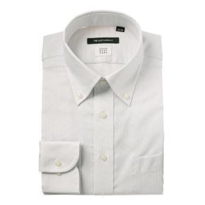 ドレスシャツ/長袖/メンズ/COOL MAX/ボタンダウンカラードレスシャツ 織柄 〔EC・BASIC〕 ライトグレー|uktsc