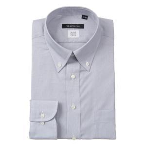 ドレスシャツ/長袖/メンズ/COOL MAX/ボタンダウンカラードレスシャツ 織柄〔EC・BASIC〕 ミディアムグレー|uktsc