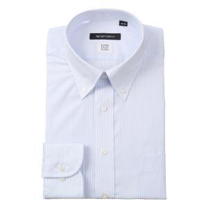 ドレスシャツ/長袖/メンズ/COOL MAX/ボタンダウンカラードレスシャツ ストライプ〔EC・BASIC〕 サックスブルー×ホワイト|uktsc