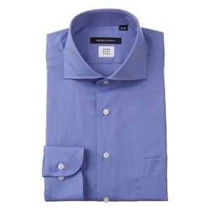 ドレスシャツ/長袖/メンズ/COOL MAX/ホリゾンタルカラードレスシャツ 織柄〔EC・BASIC〕 ブルー×サックスブルー|uktsc
