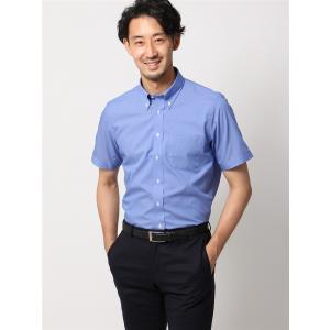 ドレスシャツ/半袖/メンズ/半袖・COOL MAX/ボタンダウンカラードレスシャツ 織柄 〔EC・BASIC〕 ブルー|uktsc