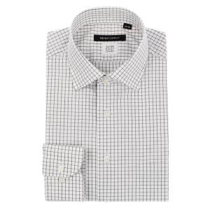 ドレスシャツ/長袖/メンズ/SUPER EASY CARE/ワイドカラードレスシャツ チェック 〔EC・BASIC〕 ホワイト×ブラック|uktsc