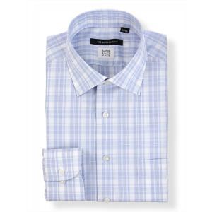 ドレスシャツ/長袖/メンズ/SUPER EASY CARE/ワイドカラードレスシャツ チェック 〔EC・BASIC〕 ブルー×ホワイト|uktsc