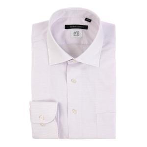ドレスシャツ/長袖/メンズ/SUPER EASY CARE/ワイドカラードレスシャツ ピンドット 〔EC・BASIC〕 パープル|uktsc