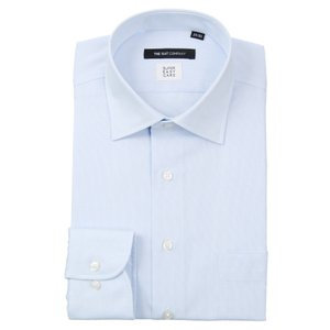 ドレスシャツ/長袖/メンズ/SUPER EASY CARE/ワイドカラードレスシャツ 織柄 〔EC・BASIC〕 ブルー×ホワイト|uktsc