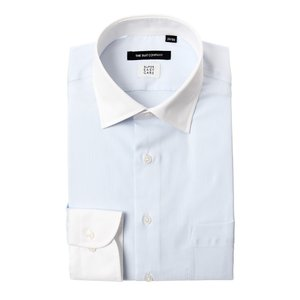 ドレスシャツ/長袖/メンズ/SUPER EASY CARE/クレリック&ワイドカラードレスシャツ〔EC・BASIC〕 サックスブルー×ホワイト|uktsc