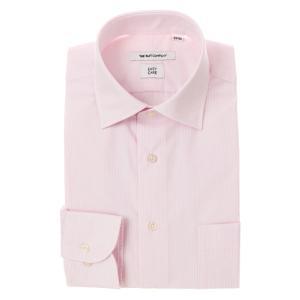 ドレスシャツ/長袖/メンズ/ワイドカラードレスシャツ ストライプ 〔EC・FIT〕 ピンク×ホワイト|uktsc
