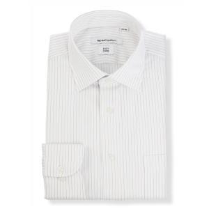 ドレスシャツ/長袖/メンズ/ワイドカラードレスシャツ ストライプ 〔EC・FIT〕 ホワイト×ベージュ×サックスブルー|uktsc