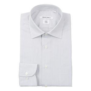 ドレスシャツ/長袖/メンズ/ワイドカラードレスシャツ ストライプ 〔EC・FIT〕 ライトグレー×ホワイト|uktsc