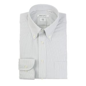 ドレスシャツ/長袖/メンズ/ボタンダウンカラードレスシャツ ストライプ 〔EC・FIT〕 ライトグレー×ホワイト uktsc