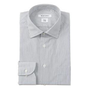 ドレスシャツ/長袖/メンズ/ワイドカラードレスシャツ ストライプ 〔EC・FIT〕 ブラック×ホワイト|uktsc