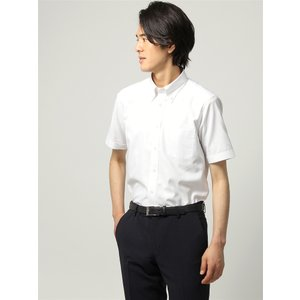 ドレスシャツ/半袖/メンズ/半袖/ボタンダウンカラードレスシャツ 織柄 〔EC・FIT〕 ホワイト|uktsc