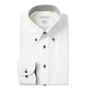ドレスシャツ/長袖/メンズ/COOL MAX/ボタンダウンカラードレスシャツ 織柄 〔EC・FIT〕 ホワイト|uktsc