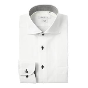 ドレスシャツ/長袖/メンズ/COOL MAX/ホリゾンタルカラードレスシャツ 織柄 〔EC・FIT〕 ホワイト|uktsc