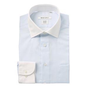 ドレスシャツ/長袖/メンズ/COOL MAX/クレリック&ワイドカラードレスシャツ 織柄 〔EC・FIT〕 サックスブルー×ホワイト|uktsc