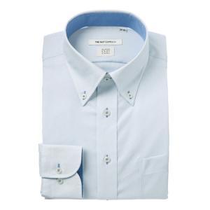 ドレスシャツ/長袖/メンズ/COOL MAX・SUPER EASY CARE/ボタンダウンカラードレスシャツ〔EC・FIT〕 サックスブルー×ホワイト|uktsc