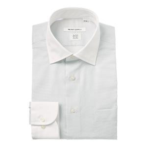 ドレスシャツ/長袖/メンズ/COOL MAX/クレリック&ワイドカラードレスシャツ 織柄 〔EC・FIT〕 ライトグレー×ホワイト|uktsc