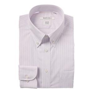 ドレスシャツ/長袖/メンズ/COOL MAX/ボタンダウンカラードレスシャツ ストライプ 〔EC・FIT〕 ホワイト×パープル|uktsc