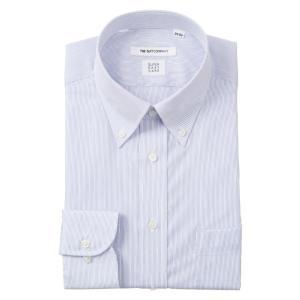 ドレスシャツ/長袖/メンズ/COOL MAX・SUPER EASY CARE/ボタンダウンカラードレスシャツ〔EC・FIT〕 ブルー×ホワイト|uktsc