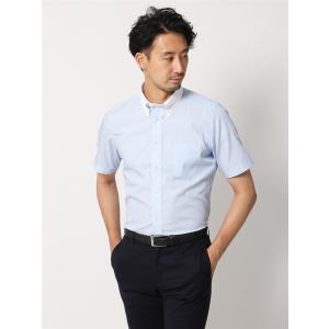 ドレスシャツ/半袖/メンズ/半袖・COOL MAX/クレリック&ボタンダウンカラードレスシャツ ストライプ 〔EC・FIT〕 サックスブルー×ホワイト|uktsc