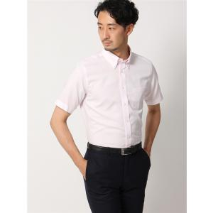 ドレスシャツ/半袖/メンズ/半袖・COOL MAX/ボタンダウンカラードレスシャツ ピンドット 〔EC・FIT〕 ピンク|uktsc