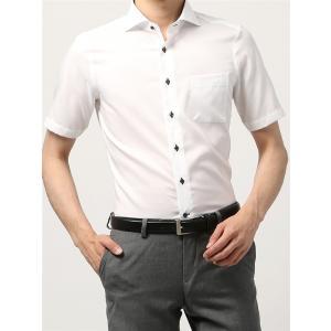 ドレスシャツ/半袖/メンズ/半袖・COOL MAX/ホリゾンタルカラードレスシャツ シャドーチェック 〔EC・FIT〕 ホワイト|uktsc