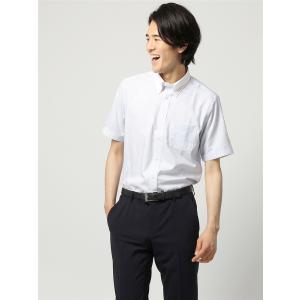 ドレスシャツ/半袖/メンズ/半袖・COOL MAX/クレリック&ボタンダウンカラードレスシャツ ストライプ 〔EC・FIT〕 ホワイト×ブルー×ネイビー|uktsc