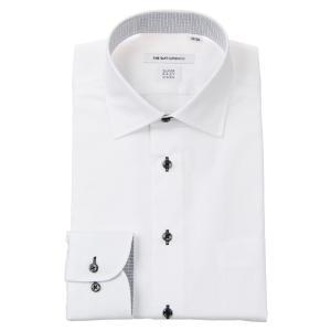 ドレスシャツ/長袖/メンズ/SUPER EASY CARE/ワイドカラードレスシャツ シャドーチェック 〔EC・FIT〕 ホワイト|uktsc