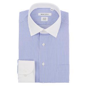 ドレスシャツ/長袖/メンズ/SUPER EASY CARE/クレリック&ワイドカラードレスシャツ ストライプ 〔EC・FIT〕 ブルー×ホワイト|uktsc