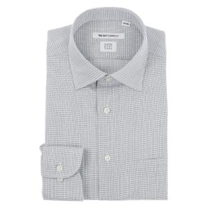 ドレスシャツ/長袖/メンズ/SUPER EASY CARE/ワイドカラードレスシャツ チェック 〔EC・FIT〕 ライトグレー×チャコールグレー×ホワイト|uktsc