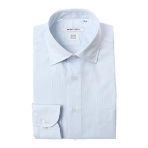 ドレスシャツ/長袖/メンズ/SUPER EASY CARE/ワイドカラードレスシャツ ストライプ 〔EC・FIT〕 サックスブルー×ホワイト|uktsc