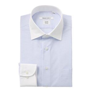 ドレスシャツ/長袖/メンズ/SUPER EASY CARE/クレリック&ワイドカラードレスシャツ 小紋 〔EC・FIT〕 ホワイト×サックスブルー|uktsc
