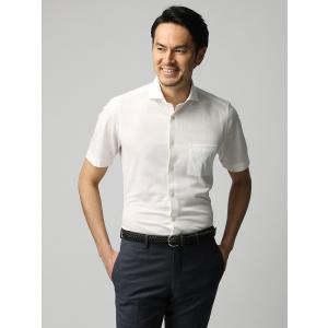 カジュアルシャツ/メンズ/JAPAN FABRIC/COOL MAX/鹿の子ジャージーホリゾンタルカラー半袖シャツ ホワイト|uktsc