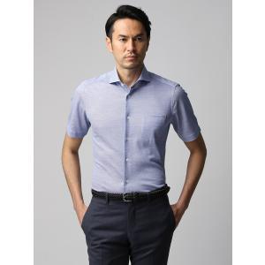 カジュアルシャツ/メンズ/JAPAN FABRIC/COOL MAX/鹿の子ジャージーホリゾンタルカラー半袖シャツ ブルー×ホワイト|uktsc